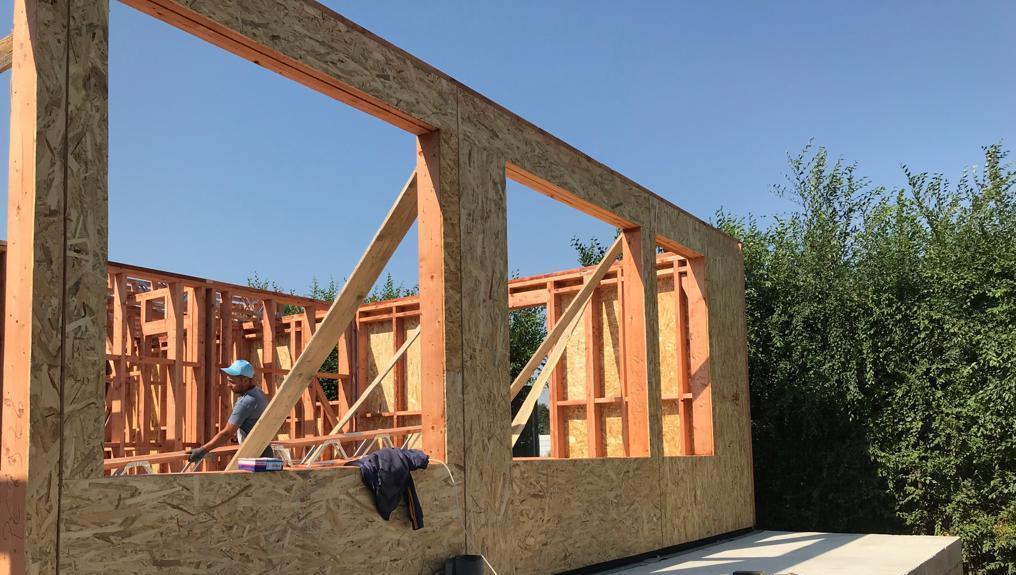 Pereti din lemn framing placati cu OSB